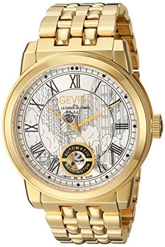 Gevril Washington Men's Swiss Automatic Gold-Tone Stainless Steel Bracelet Watch, (Model: 2622B)