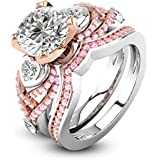 Luxury Jewelry Womens 925 Silver Heart White Sapphire Wedding Two tone Ring Set#by pimchanok shop (6, #1)