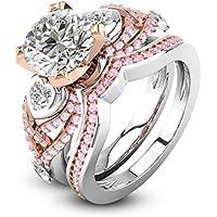 Fashion 925 Silver White Topaz Pink Sapphire Ring Set Wedding Engagement Jewelry by Siam panva (7)