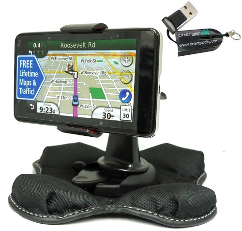 Garmin Nuvi 1100 1200 1250 1260 1260t 1300 1350 1350t 1370 1370t 1390 1390t GPS Portable Dashboard Friction Mount Kit by ChargerCity w/OEM Micro SD USB Card Reader, Bracket Cradle & Beanbag Dash Mount (Compare to 010-10908-02 / 010-10908-00)
