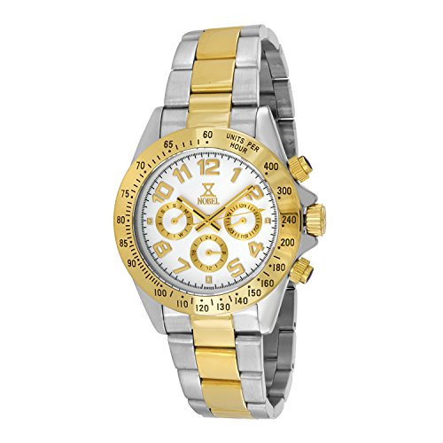 Nobel Men's 7C88G Chronograph Display Two Tone Stainless Steel Multi-Function Watch, Cool Christmas Gift for Him
