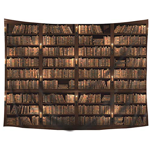 Wowzone Vintage Wooden Library Tapestry Study Room Scene Tapestry Full of Old Books Tapestry Classic Bookshelf Tapestry Wall Hanging Tapestry Art Decor Fabric Home Dorm for Living Room ()