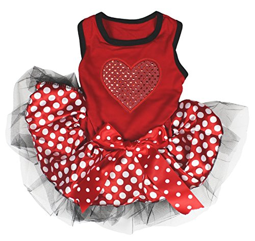 Pet Supply Valentine Wear Sequin Heart Red Top Polka Dots Tutu Cat Dog Dress (Small) ()