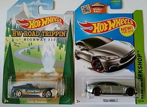 2015 Hot Wheels Hw Road Trippin' Tesla Roadster & Hw Workshop Tesla Model S - Lot of 2!!
