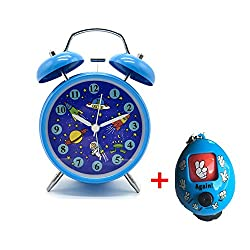 Cute Children's Alarm Clock ,Yatow 4 Twin Bell Wake Up Alarm Clock Nightlight Silent (Star Universe Pattern) With Free Kids Toys (Blue)