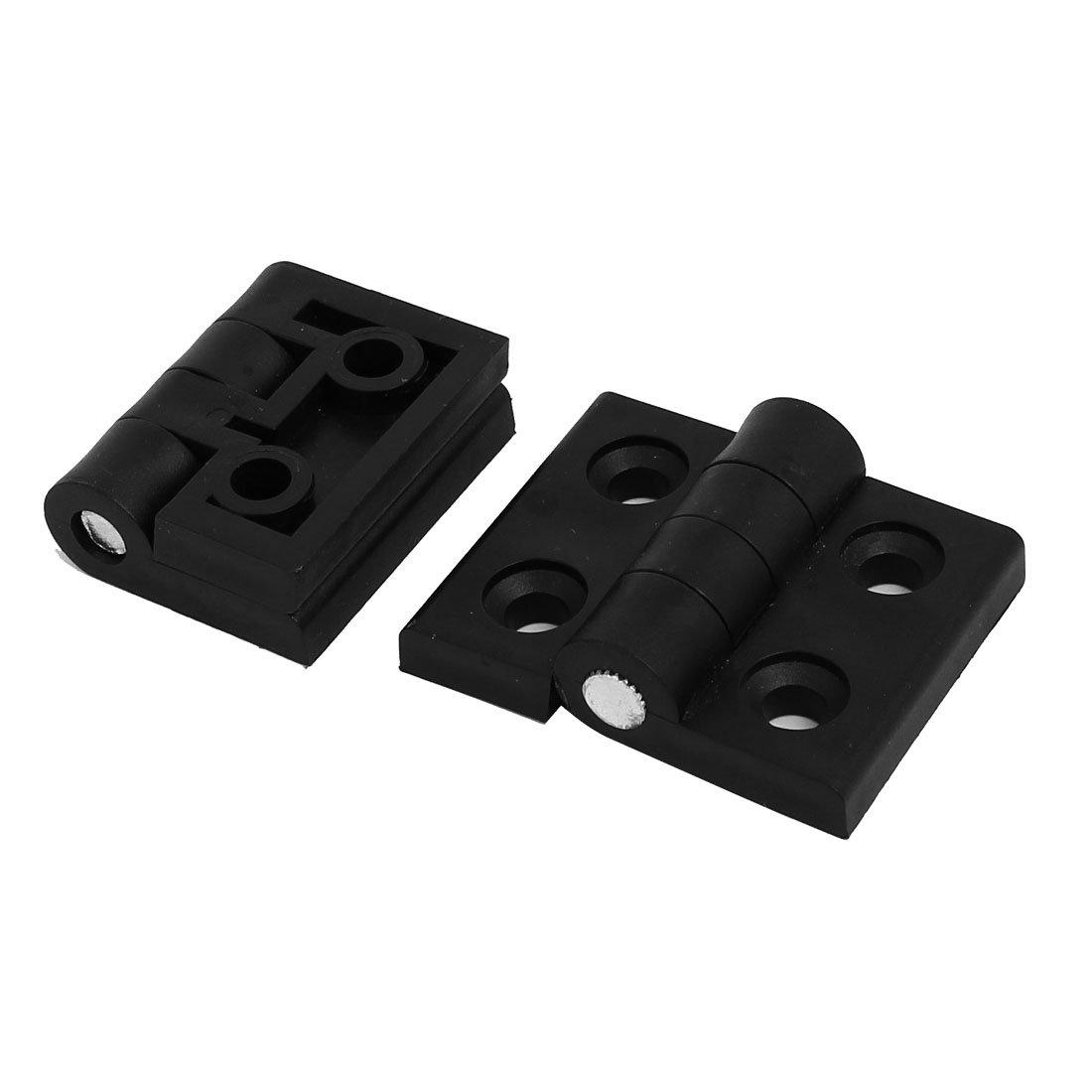 Bisagra plegable de plástico 45mmx57mm negro 6pcs para puerta tapa de armario