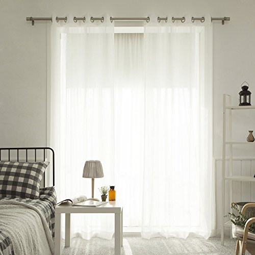 Best Home Fashion Muji Sheer Linen Look Curtains – Stainless Steel Nickel Grommet Top – White – 52″W x 84″L – (Set of 2 Panels)