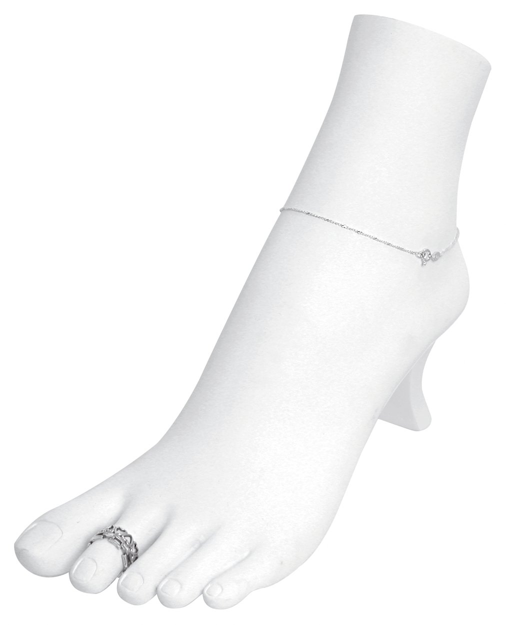White Polystyrene Toe Ring Chain Ankle Bracelet Foot Display Storage Showcase Stand