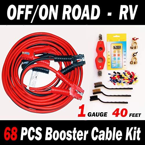 [해외]오프도로-RV-68 PCS 부스터 케이블 키트-253040 피트 1 게이지 점퍼 케이블 (40 피트 1 게이지) / OFFON ROAD ? RV - 68 PCS BOOSTER CABLE KIT - 253040 FEET 1 GAUGE Jumper Cables (40 FEET 1 GAUGE)