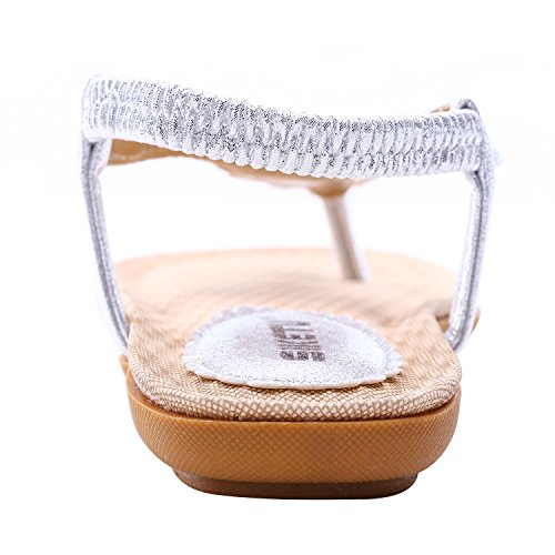 Womens Platform Wedge Sandals Bohemian Beaded Ethnic Style Shoes Thong Sandals (Shining Silver, 9 B(M) US/40EU) by NewYork Offer Shop (Image #3)