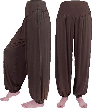 para Mujer del Algodón Modal De Yoga Suave Deportes Danza Harem Alta Cintura Suelta Pantalones De Piernas General del Vientre Danza del Mono Pantalones Boho: Amazon.es: Ropa y accesorios
