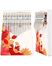 CILILI Kalimba 17 Keys Wood Thumb Piano Portable Musical Instrument Gifts for Kids Adult Beginners (Silk-print(Maple-Leaves))