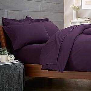 Rayyan linen 39 s percale plain dyed poly cotton aubergine purple duvet cover bed set size double - Bedlinnen aubergine ...