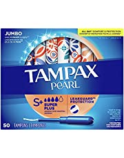 Tampax Pearl Tampons Super Plus Absorbency with BPA-Free Plastic Applicator and LeakGuard Braid, Unscented, 50 Count, Pack of 2 (Total 100 Count)