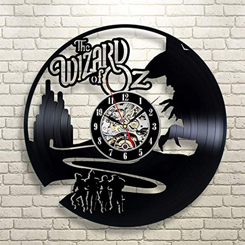 DOLIROX The Wizard of OZ Vinyl Record Clock Wall Art Home Decor Vinyl Record Wall Clock 3D Decorative Hanging Vinyl Record Wall Clocks Home Decor and The Best Gifts for Mother or Friends (Black D) -