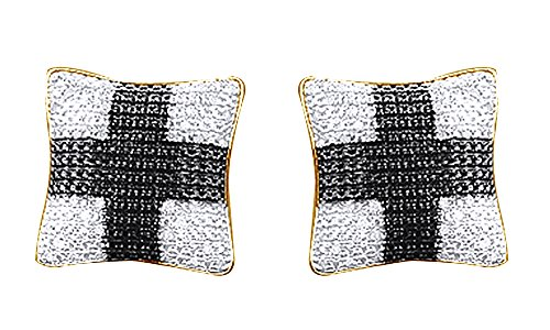 Black & White Natural Diamond Hip Hop Cluster Stud Earrings 14K Gold Over Sterling Silver (0.18 Cttw) by wishrocks