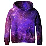 Euro Sky Big Girls Kids Blue Galaxy Pockets Sweatshirts Hooded Hoodies 4-16Y NO19 M