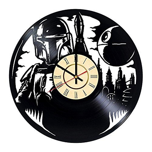 Fun Door Star Wars Boba Fett Handmade Vinyl Record Wall Clock for Birthday Wedding Anniversary Valentine's Mother's Ideas for Men and Women him and her ()