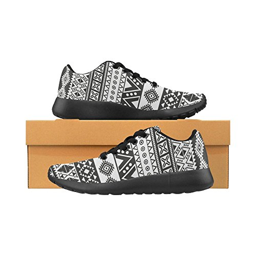 Size InterestPrint Athletic On White and 15 6 Shoes Lightweight Women's Print Casual Tribal Running Sneakers Black Aztec US Pattern nIOwanr0