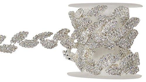 Silver Leaf Trim - SHINYTIME Rhinestone trims 1 Yard silver Leaf Shape wedding applique trim Bridal Sash