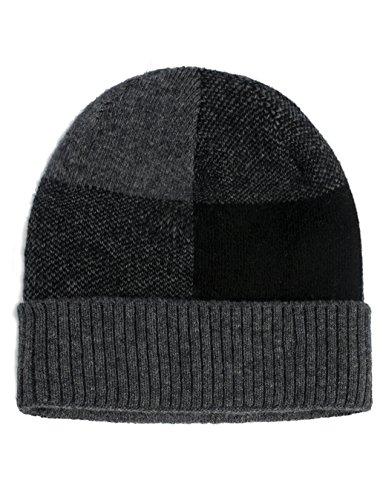 Camo Wool (Dahlia Men's Wool Blend Beanie Hat - Velour Lined Block - Gray)
