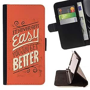 BullDog Case - FOR/Samsung Galaxy S5 Mini, SM-G800 / - / easy better never inspiring message /- Monedero de cuero de la PU Llevar cubierta de la caja con el ID Credit Card Slots Flip funda de cuer