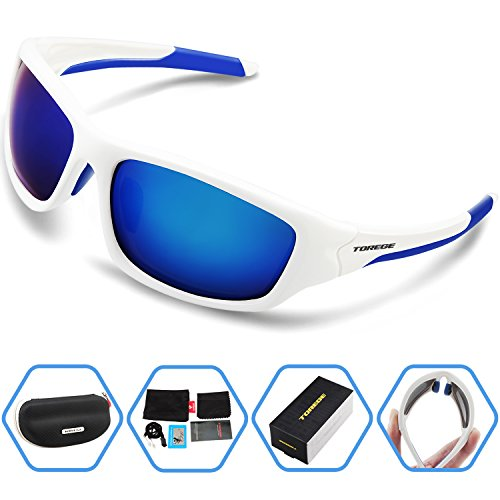 Torege Polarized Sports Sunglasses For Man Women Cycling Running Fishing Golf TR90 Unbreakable Frame TR011