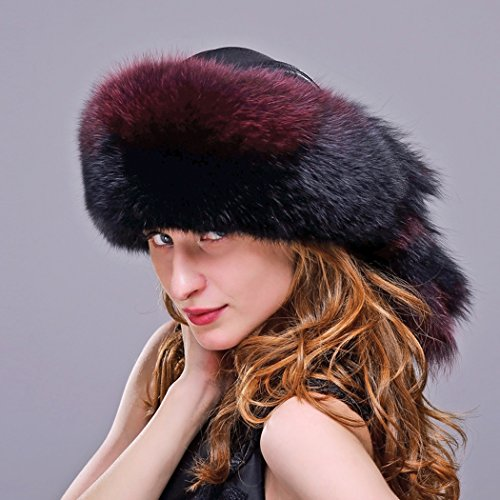 URSFUR Fox Fur Roller Hat with Leather Top and Tails (One Size Fits All, Black & Red) by URSFUR (Image #3)