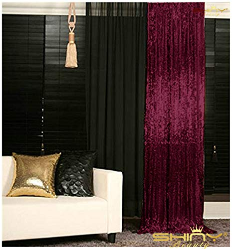 (Sequin Curtains 2 Panels 96 inches Burgundy Sequin Backdrop 4x8ft Burgundy Sparkle Backdrop Prom Backgrounds M0527)