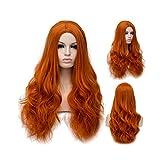 Winshope Orange Wig For Girls Women Long Curly Costume Hair Wigs Cosplay Heat Resistant