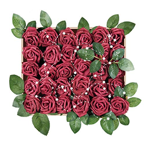 Meiliy 60pcs Artificial Flowers Burgundy Rose Heads Real Looking Foam Roses Bulk w/Stem for DIY Wedding Bouquets Corsages Centerpieces Arrangements Baby Shower Cake Flower Decorations -