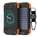 Solar Power Bank, Qi Wireless Charger 10,000mAh External...