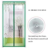 GAIHU Adjustable Magnetic Screen Door/Mosquito Screen Door/Beige Embroidered Dust-Proof Insect Mute Curtain/Hard Border Soft Sand Door,Green,90200