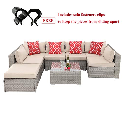 HTTH Outdoor Patio Furniture Sofa Sectional Outdoor Furniture Sets All-Weather Wicker Rattan Sofa with 2 Pillows and Coffee Table (8-PCS-Sofa)