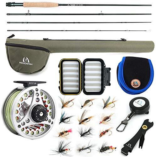 M MAXIMUMCATCH Maxcatch Extreme Fly Fishing Combo Kit 3/5/6/8 Weight, Starter Fly Rod and Reel Outfit, with a Protective Travel Case (5wt 9