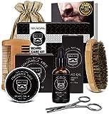 Beard Kit Beard Care & Grooming Kit for Men Gifts, Natural Organic Beard Oil, Beard Balm, Beard Comb, Beard Brush, Beard Scissor, Gift Box, Canvas Carry Bag and E-Book