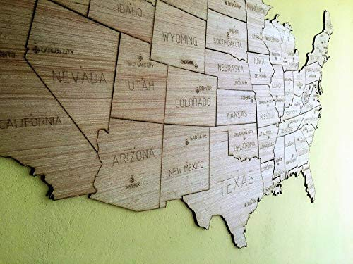 Amazon.com: USA WOODEN MAP, TRAVELER MAP, STATE BORDER ...