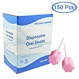 Munkcare Disposable Oral Swabstick Oral Care Foam Swabs, Individually Wrapped, Untreated,Pink, 150 counts