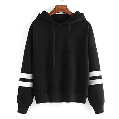 a301c3632eacaf Hattfart Womens Long Sleeve Hoodie Print Sweatshirt Jumper Hooded Pullover  Tops Blouse (Black, S