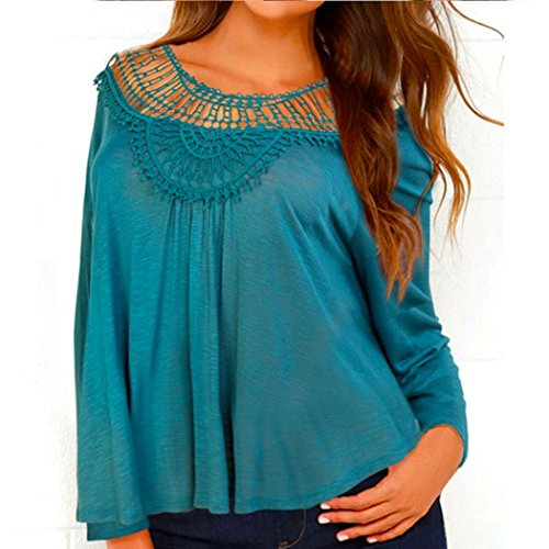 DORIC Women Lace Openwork Shirt Long-Sleeved Shirt Casual Tops Shirt BU/S (Long Turtleneck Ribbed Girls Sleeved)