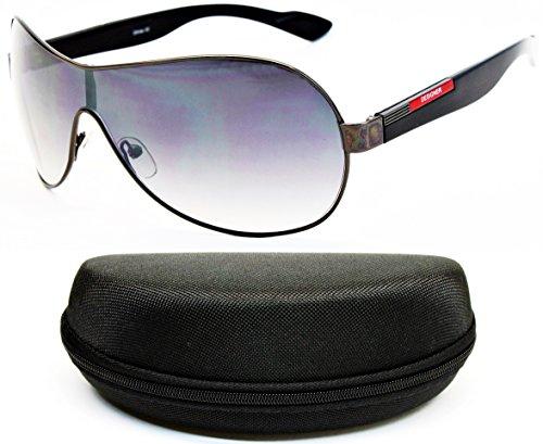 Logo Metal Aviator Shield Sunglasses (D102a-CC Designer Eyewear Oversized Shield Sunglasses (O1689B Gunmetal/Black-Smoked, uv400))