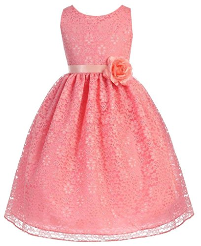 Pink Natural Coral Flower (Little Girls Adorable Lace Overlay Spring Summer Flowers Girls Dresses Coral Size 6)