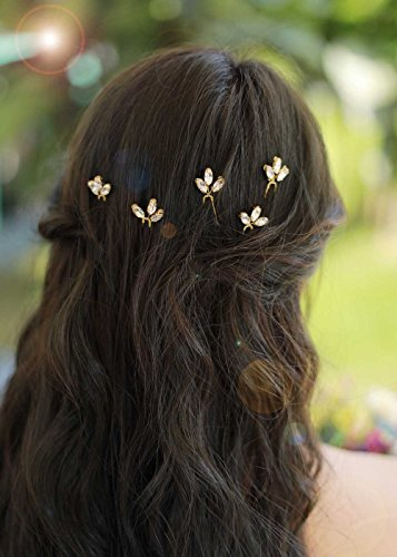 Vintage Bridal Headpieces - Missgrace Bridal Rhinestone Hair Pins Women Vintage Small Jewelry Headpiece Gypsophila Super Flash Ornament Wedding Hair Accessories 5PCS (Gold)
