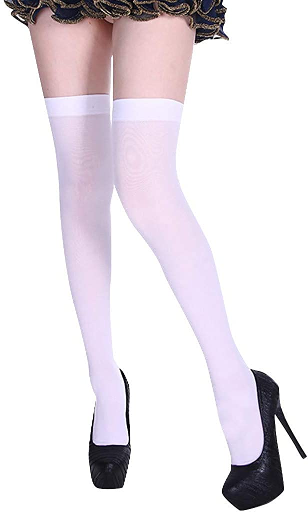 Womens Long Socks Over the Knee Christmas Solid Socks Cotton Boot Stockings Cosplay Thigh High Socks