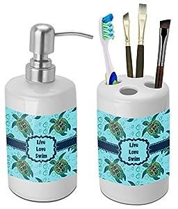 Sea Turtles Bathroom Accessories Set (Ceramic) (Personalized)