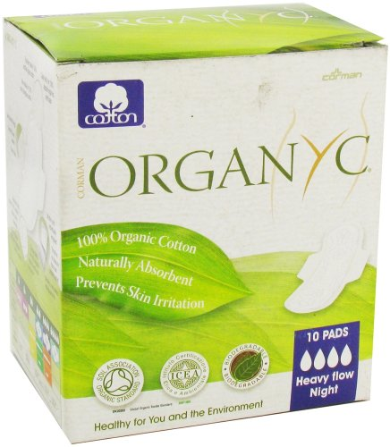 Organyc - Organic Cotton Menstrual Pads with Wings Heavy Night Flow Night - 10 Pad(s) (Organic Menstrual Pads)
