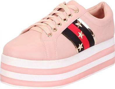 9dd3bff97464c Cambridge Select Women's Lace Up Retro 90s Military Star Stripe Platform  Fashion Sneaker