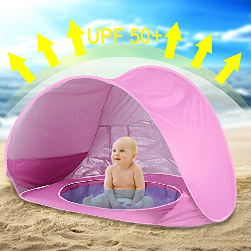 Hoomall Baby Beach Tent Pop Up Collapsible Portable Shade Pool UV Protection Canopy Sun Shelter Playhouse for Infant,Carry Bag Included,50+ UPF (Pink)