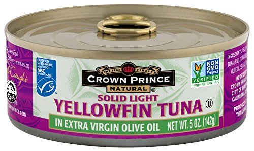Crown Prince Natural Solid Light Yellowfin Tuna in Extra Virgin Olive Oil, 5-Ounce Cans (Pack of 12) (Tuna Genova)