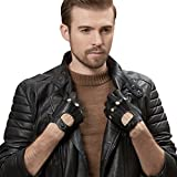 GSG Mens Punk Rock Gloves Genuine Leather Gloves Perforated Fitness Gloves Cool Driving Cycling Gloves for Men Black 9.5